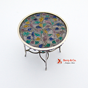 Miniature Table Plique a Jour Enamel Filigree Sterling Silver 1900