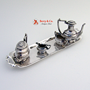 English Sterling Silver Miniature Tea Set A C & Sons 1974