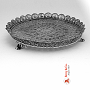 SALE Sterling Silver Filigree Footed Tray 1930