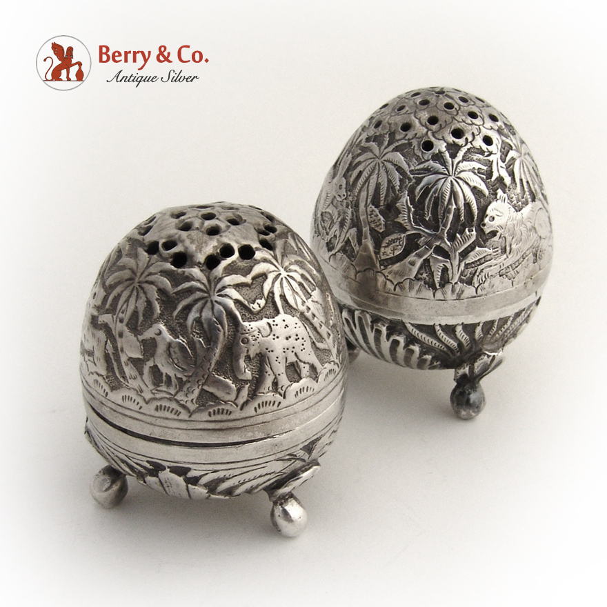Egg shape salt pepper shakers 1890 coin silver from berrycom com on ruby lane - Egg shaped salt and pepper shakers ...