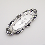 Ornate Floral Pin Tray Sterling Silver 1900