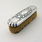 Tiffany Floral Scroll Horse Hair Clothes Brush Sterling Silver 1890