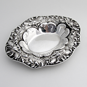 Oval Repousse Poppy Serving Bowl Sterling Silver Gorham 1900