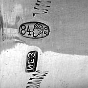 Floral Scroll Tall Shot Trumpet Vase Russian 84 Standard Silver 1920