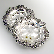 Beautiful Pair Of Floral Openwork Serving Plates Sterling Silver Redlich Company 1890
