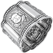 SOLD Repousse Floral Coin Silver Napkin Ring 1865