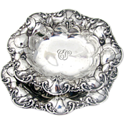 Pair Of Floral Scroll Ornate Repousse Serving Bowls Sterling Silver Whiting 1920