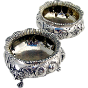 Pair Of Heavy Large Ornate Repousse Floral Scroll Open Salt Cellars Sterling SIlver Daniel ...