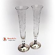Pair Of Floral Acid Etched Trumpet Vases Sterling Silver Glass 1930