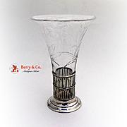 Floral Cut Glass Vase Sterling Silver 1940