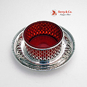 Tiffany Co Openwork Serving Bowl Sterling Silver Red Glass 1915