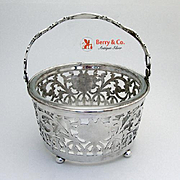 Openwork Swing Handle Basket Or Ice Bucket Sterling Silver Glass Gorham 1920