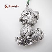 Figural Cartoon Dog Christmas Ornament Sterling Silver 1960