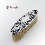 Art Nouveau Repousse Clothes Brush Sterling Silver Horse Hair Gorham 1900