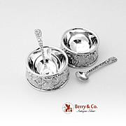 Set Of 2 Repousse Individual Open Salt Dishes With Individual Salt Spoons Sterling Silver S Kirk Son 1828
