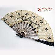 Antique Filigree Folding Hand Fan Sterling Silver 1890