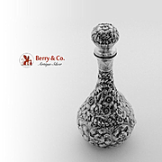SALE PENDING Large Ornate Repousse Perfume Bottle Sterling Silver Wood Hughes 1860