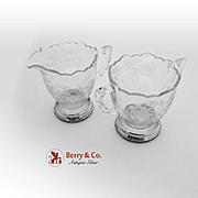 Floral Creamer Open Sugar Bowl Set Sterling Silver Pressed Glass 1940