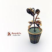 Tiffany Co Ornate Figural Flower Basket Gilt Sterling Silver Mexico 1970