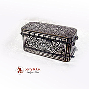 SALE Betel Nut Box Southern Philippines Inlaid Silver Brass 1900