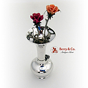 Unique Rose Vase With Roses Sterling Silver 1970