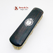 French Medallion Clothes Brush Ebony Sterling Silver Horse Hair 1900