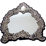 Ornate Floral Scroll Shell Mirror Sterling Silver Wood WDB 1909