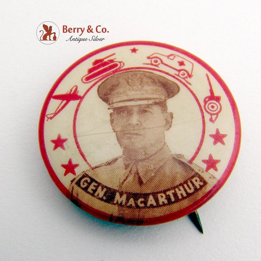 patriotic douglas macarthur militaria badge pin button 1950. Black Bedroom Furniture Sets. Home Design Ideas