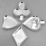 Playing Card Suit 4 Nut Dishes Clubs, Diamonds Hearts Spades Sterling Silver 1960 Maciel