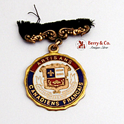 Artisans Canadiens Francais Medal Caron Freres R.P. Maker, Gold Plated Red Blue and White Enam