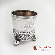 German Ball Footed Beaker 800 Silver Inscribed 1710