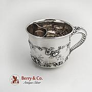 Shaving Mug Rose and Scroll Decorations Elephant Trunk Handle Gorham Sterling Silver 1898