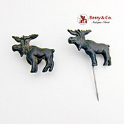 Bull Moose Stick Pin and Collar Button Teddy Roosevelt 1912