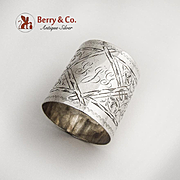 Aesthetic Scroll Engraved Napkin Ring Coin Silver 1880
