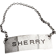 Sherry Bottle Tag Label Sterling Silver