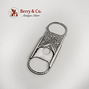 Small Ornate Cigar Cutter Sterling Silver 1890