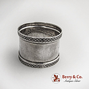 Aesthetic Napkin Ring Coin Silver Embossed Borders 1880