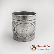 Aesthetic Napkin Ring Engraved Designs Coin Silver 1880