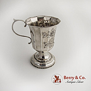 A Dodecahedronal Shape Coin Silver Cup Floral Repousse Decorations 1840