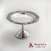Chinese Export Silver Compote Chrysanthemum Decorated Rim 1910