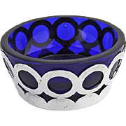 Open Salt Sterling Silver Cobalt Blue Glass 1940