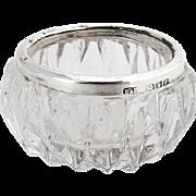 Vintage Cut Crystal Open salt Dish Sterling Rim London 1902