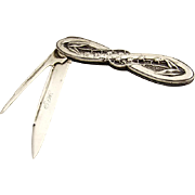 Lily of the Valley Folding Pocket or Fruit Knife Coin Silver 1870