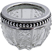 Open Salt Dish Sterling Silver Cut Crystal French 1900