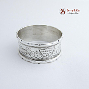 Floral Engraved Napkin Ring Sterling Silver 1896