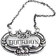 Bourbon Bottle Tag Sterling Silver 1920