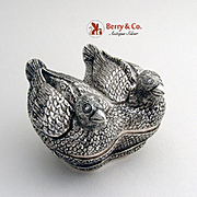 Vintage Figural Love Bird Box Sterling Silver