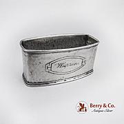 Hammered Napkin Ring Sterling Silver Webster Monogram Warren