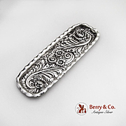 Ornate Floral Repousse Dresser Tray Sterling Silver 1900