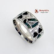 Clover Leaf and Harp Napkin Ring Sterling Silver Connemara Marble Birmingham 1904